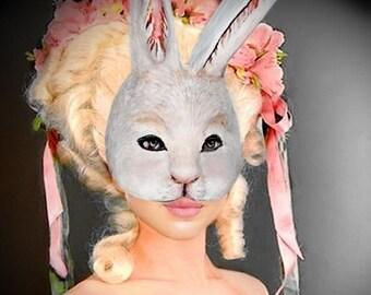 Rabbit Mask   Bunny  mask Animal mask Masquerade Face mask Paper mache Rabbit mask Papier mache Rabbit mask costume