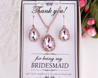 Blush earrings Blush Bridesmaid Earrings Bridesmaid gift Blush bridal jewelry set Blush pink earrings Crystal Earrings with Bridesmaid card