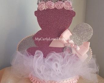 Silver Princess Baby Shower Centerpiece/Pink Silver Baby Center/Tiara Baby Centerpiece/Princess Baby Center/Pink Silver Baby Centerpiece