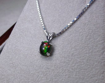 Genuine Black Opal Pendant Necklace, Last Minute Jewelry Gifts, Authentic Opal Jewelry, October Birthstone, Best Gifts for Her, Holiday Gift
