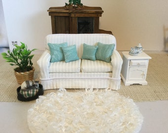 One Little WhiteTraditional Couch with so many pillow choices for 1:12 scale dollhouse