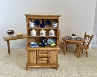ON SALE  Oak Hutch with Blue Accents for 1:12 Scale Dollhouse