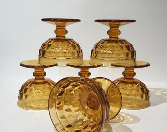 Colony Whitehall Amber Sherbet Glasses, Amber Glass Dessert Cups, Vintage Glass Sherbet Cups