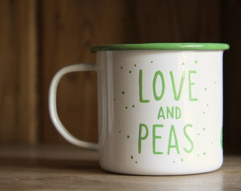 Hand painted enamel mug 'Love and Peas.
