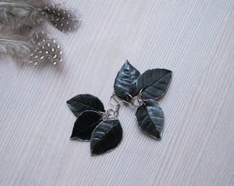 Silver drop earrings Leaf jewelry Dangle leaf earrings Black leaf earrings Silver leaf earrings Silver and black earrings Goth earrings