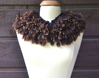 Brown fur collar, eco-fur, felted fleece wrap, brown fur, sheep fleece collar, fleece wrap, cruelty-free fur, sustainable fur, felted collar