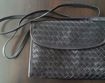 vintage black leather woven handbag