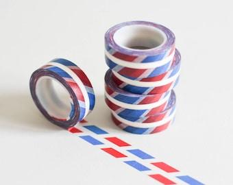 Airmail Washi tape, air mail masking tape, blue red washi tape, retro masking tape