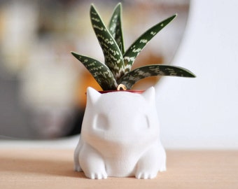 Bulbasaur Planter 3D Printed Geometric Vase, Pot, Modern Planter, Pokemon, Pokedex, Toy, Gift, Decor, Abstract, Ready to Shipping, Sale