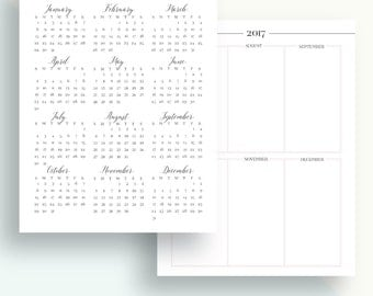 Yearly planner inserts, 2017 yearly planner printable, A4 planner inserts, A5 planner inserts, Letter size, yearly overview 2017
