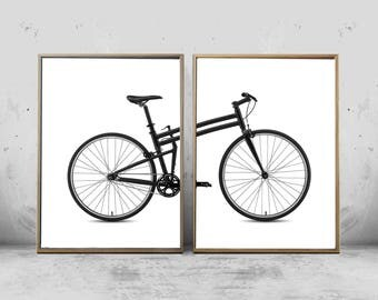 Bicycle Prints Set of 2, Mid Century Wall Art, Black and White Posters, Minimalist art, Large Printable Art, Bike Posters, Scandinavian Boho