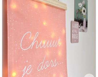 Night light wall, fabric and wood, for a soft atmosphere