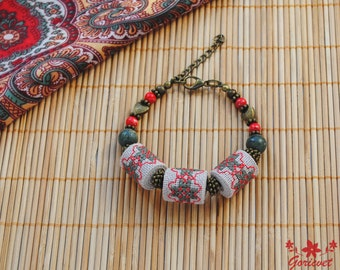 Embroidered jewelry bohemian bracelet unique gift for women Serpentine bracelet stone jewelry green red bracelet handcrafted jewelry gift
