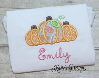 Pumpkin Applique Shirt, Girl's Fall Shirt, Thanksgiving, Personalized, Girl's, Pumpkin applique, Thanksgiving shirt, Monogrammed