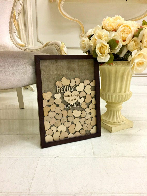 Wedding Guest Book Alternative Guest Book Drop Top hearts Rustic guestbook Burlap Guestbook Alternative Heart Guest Book Better Together