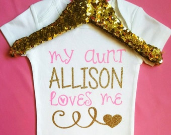 My Aunt Loves Me Bodysuit || Baby Shower Gifts | pink and gold baby outfit baby girl clothes aunt baby shirt baby bodysuit baby outfit cute