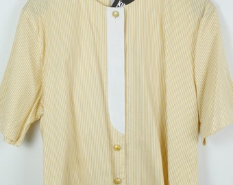 Vintage shirt, 80s clothing, shirt 80s, stripes print, short sleeves, gold buttons, oversized