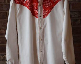 BANDANNA WESTERN SHIRT Pearl Snap Cowboy Shirt Rockabilly
