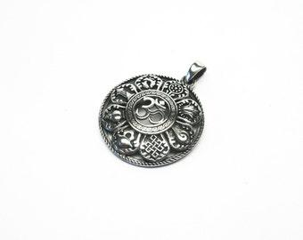 Astamangala jewelry pendant Silver 925 Tibet Sanskrit Ashtamangala ohm OM Aum