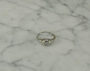 Vintage Diamond Filigree Ring (size 5.75)