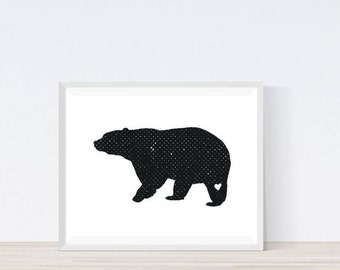 Bear Print,Grizzly Bear, Animal Print,Grizzly Bear Art Print, Kids Room Decor, Wildlife Print,  Woodland Nursery Decor, Home Decor,