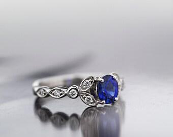 Natural Ceylon Blue Sapphire Ring - Diamond Engagement Ring - Anniversary Ring - 18 ct White Gold