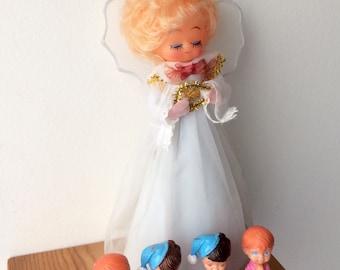 Vintage set of 5 christmas decorations angel tree topper praying pink baby girl blue baby boy figurines nursery decor kids room decor