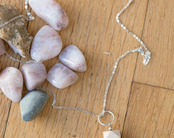 Essential Oil Diffuser Necklace // Wood, Druzy Pyrite & Gemstone Bead Pendant on Silver Chain