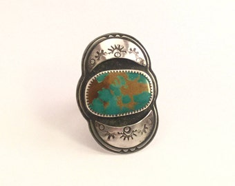 Kingman Gold Web Turquoise Sterling Shadow Box ring size 7 1/2
