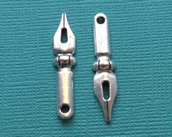 10 Pen Nib Charms Silver - CS2555