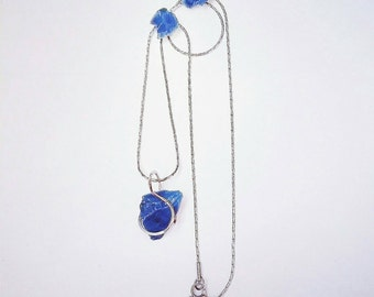 Necklace - Blue - Green - Slag glass - [steel byproduct] - Stainless Steel - STEEL CITY
