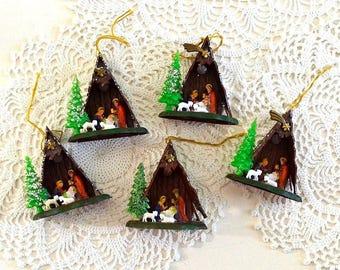 vintage nativity manger ornamants Christmas ornaments religious ornaments