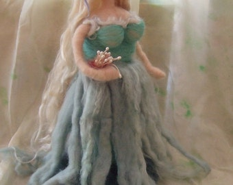 needle felted doll,  sea maiden,  nature table decor, waldorf inspired, fibre art doll