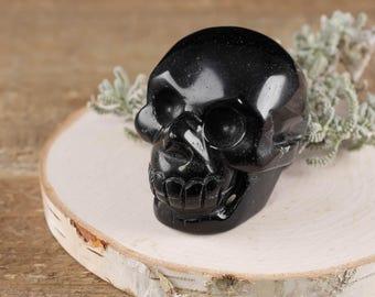 "2"" Black OBSIDIAN Skull - Love Stone, Hand Carved, Healing Stone, Healing Crystal & Heart Chakra Stone - Black Obsidian Crystal Skull E0265"