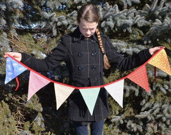 Fabric bunting banner, triangular, pennant, party decor