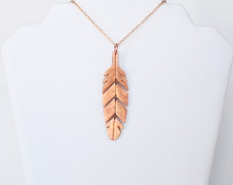 Feather Necklace - Feather Pendant - Rose Gold Necklace - Sectioned Necklace - Copper Pendant - Boho Necklace - Boho Feather - Boho Pendant