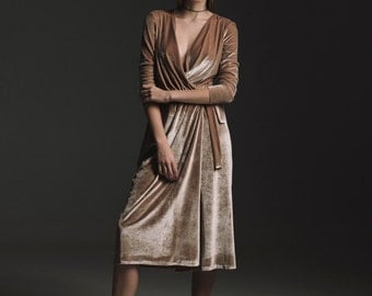 Camel velvet dress with silk shirt