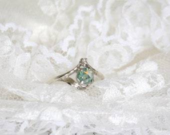 5.15mm Green Rose Cut Moissanite in 9K White Gold Vintage Ring with Diamond, Nature Inspired
