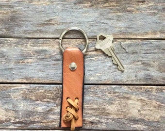 Men's Leather Keychain, Unique Keychain, Leather Key Fob, House Keychain, Recycled Leather, For Him, Leather Accessories, Made in USA