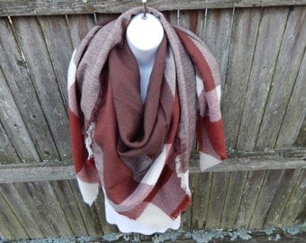 Brown / Rust /White Blanket Scarf