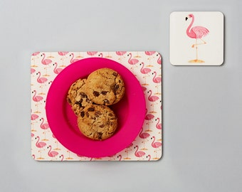 Flamingo Placemat and Coaster Set, Kid's Easter Gifts, Flamingo Gift, Toddler Gift, Kids Gifts, Gifts Under 10, Girl Gifts, FREE SHIPPING