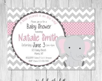 Elephant Baby Shower Invitation, It's a Girl, *DIGITAL FILE*