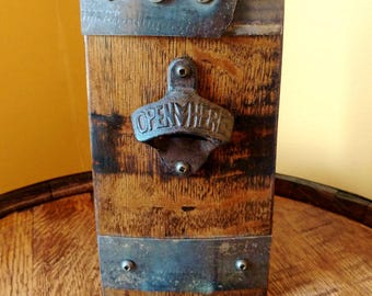 Whiskey Barrel Stave Bottle Opener ~ Wall Mount