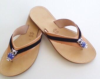 Crystal Flip Flops, Blue Flip Flops , Rhinestone Sandals, Leather Flats, Slide On Sandals, Boho Sandals