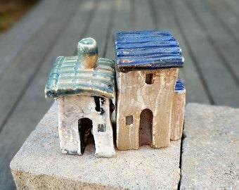 SET, small house, ceramic house, little houses, Miniature house, Small clay house, Ceramic house, tiny village, clay town, terrarium decor