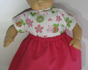Bitty Baby / Bitty Twin Pink Skirt, Shirt, Booties, and Pink Headband