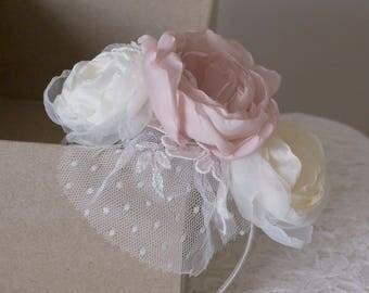 Fabric flower fascinator | bridal fascinator | pale pink fascinator | fabric hair flower