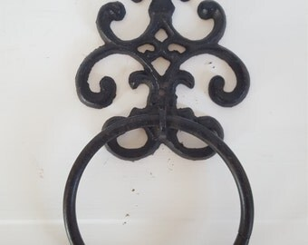Towel Ring,  Towel Hook, Cast Iron Towel Holder, Towel Ring, Hand Towel Holder, Towel Hanger, Kitchen Towel Rack, Black Iron Towel Rack