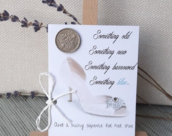 Wedding Gift for Bride to be, Lucky charm, Bridal Shower Gift  Something Old something blue, Gift to bridal shoes, wedding sixpence