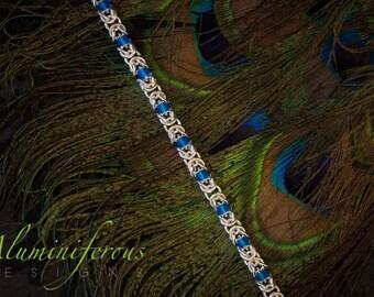 Turquoise : Beaded Silver Byzantine Bracelet